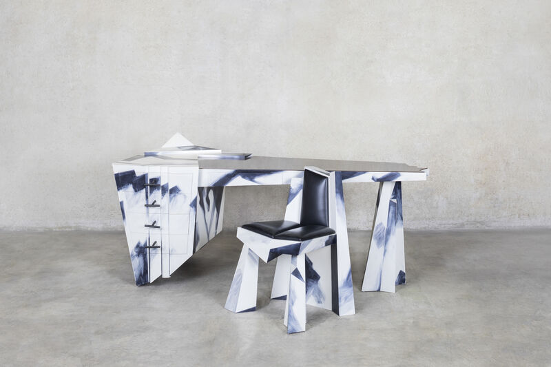 Wendell Castle, 'Caligari's Mistress's Desk and Chair', 1990, Design/Decorative Art, Oak, mahogany, ebony and mahogany veneer, aniline-dyed and acrylic-painted gesso, leather, Friedman Benda