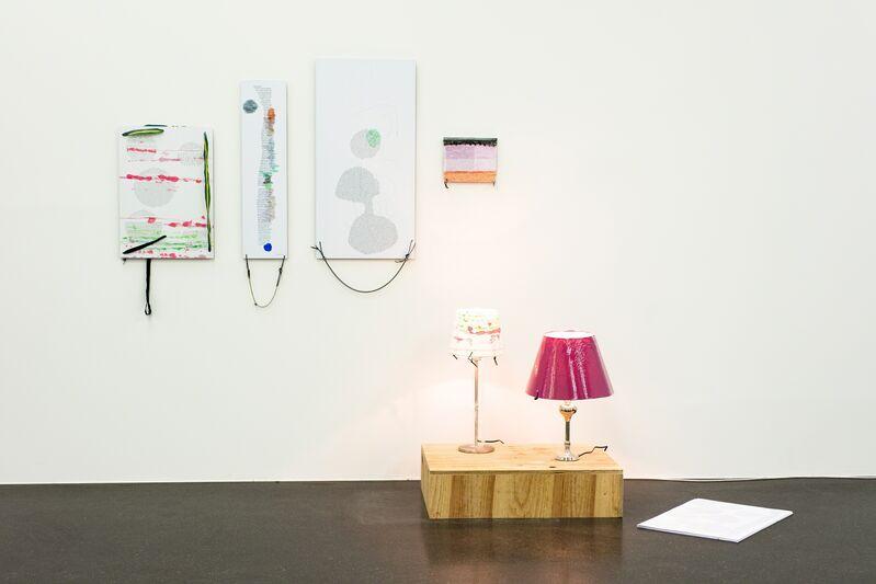 Josef Strau, 'Dream Ossipisms', 2012, Installation, 4 textposter, stack of poster, lamp, Galerie Francesca Pia