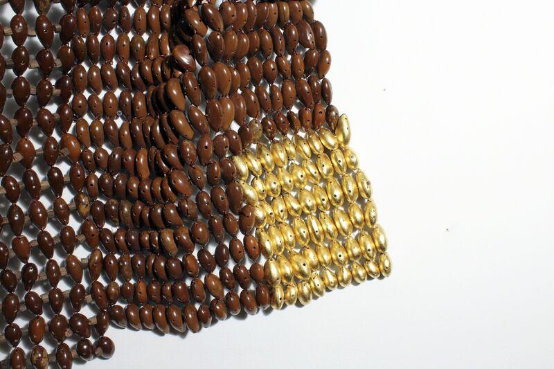 Niyi Olagunju, 'Ekpiri #24', 2017, Installation, Pods of Ekpiri Seeds, Gold leaf, Copper leaf and Copper Wire, TAFETA