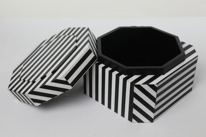 """Oeuffice, '""""Ziggurat Tower"""" set of stacking boxes, Black Stripes edition', 2012, Design/Decorative Art, Wood box inlaid with acrylic and solid stained wood, Carwan Gallery"""