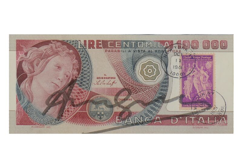 Andy Warhol, 'Signed Diecimilia Lire', Mixed Media, Italian banknote, Chiswick Auctions