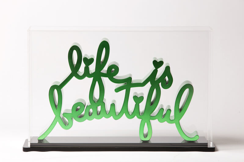 Mr. Brainwash, 'Life is beautiful - Hard Candy Green', 2020, Sculpture, Chromed die-cast resin - Plexiglass Box, Deodato Arte