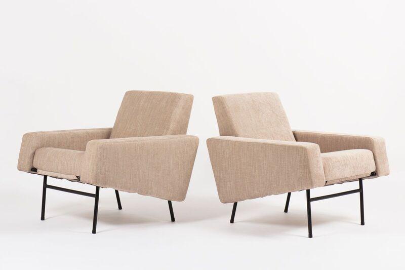 Pierre Guariche, 'Pair of G10 beige velvet armchairs ', 1950's, Design/Decorative Art, Metal, textile, Gallery Red