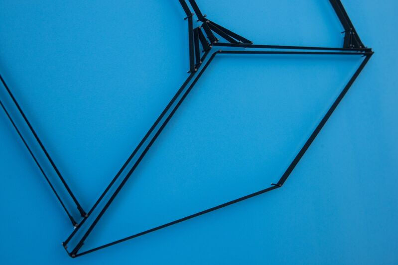 Yonatan Vinitsky, 'Terrible Catastrophe (How long will it take?) 100%', 2013, Mixed Media, Black Elastic (21mm), Super Glue, Steel Nails (3.0 x 50mm) on Acrylic Paint Background (RAL 7035 - Light Blue), Limoncello