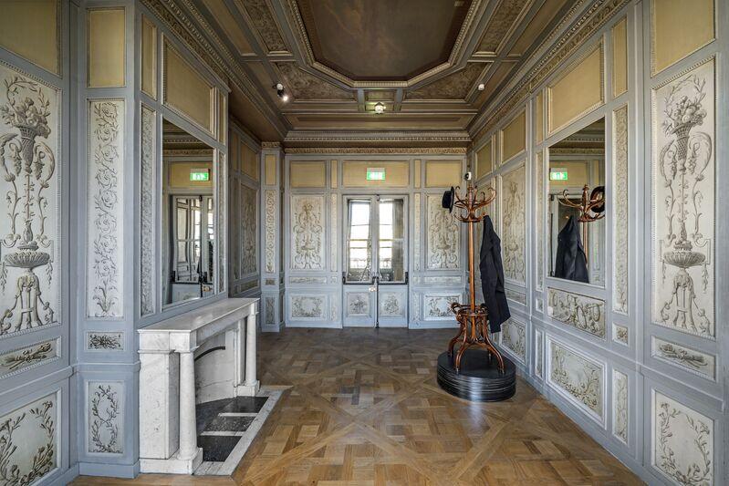 Jannis Kounellis, 'Untitled', 2015, Installation, Coat hanger with hat and coat on iron plates, Monnaie de Paris