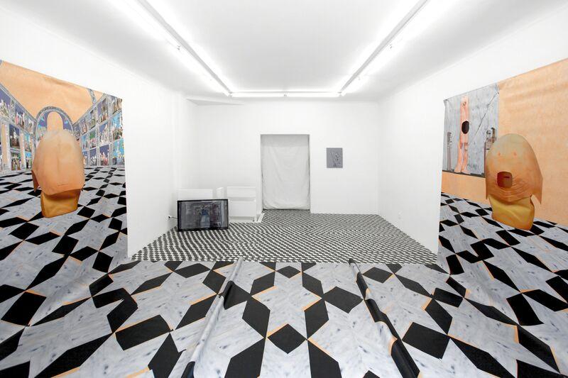 Catherine Biocca, 'Meeting 4D', 2015, Installation, Video installation, PVC print, screens, media players, aluminium rack, tape, Jeanine Hofland