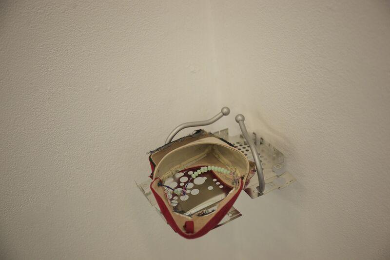 Yi Zhang, 'Piercing heart', 2018, Sculpture, Shoes, metal rack, Migrant Bird Space