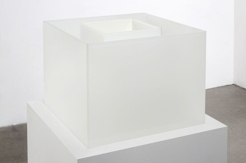 Larry Bell, 'Untitled Maquette (True Fog / Optimum White)', 2018, Sculpture, Laminated glass, Anthony Meier Fine Arts