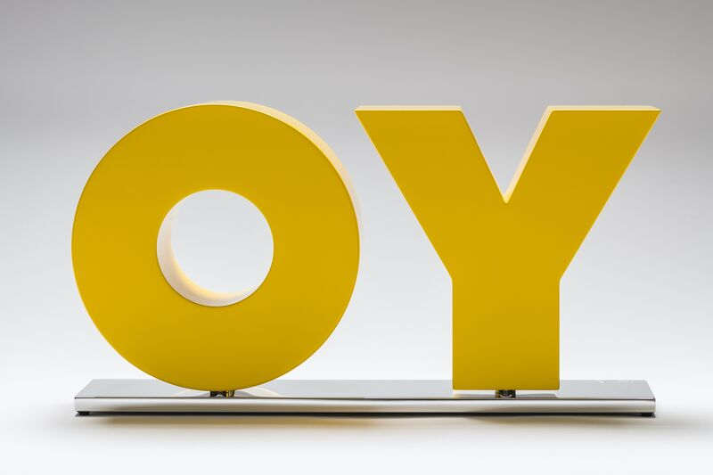 Deborah Kass, 'OY/YO (Yellow)', 2018, Sculpture, Solid aluminum with yellow powder coat buffed to a high gloss and mounted on a polished aluminum base, Gavlak