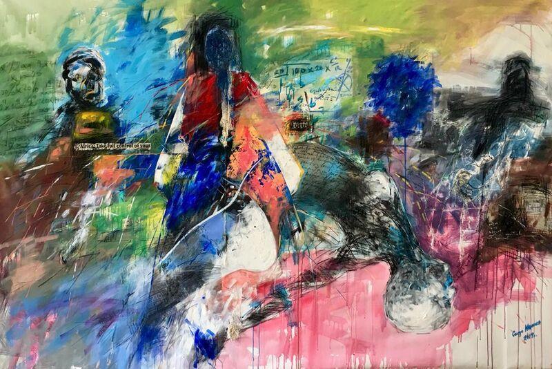 George Masarira, 'Inkululeko', 2018, Painting, Acrylic, charcoal, newspaper and canvas, mmARTHouse