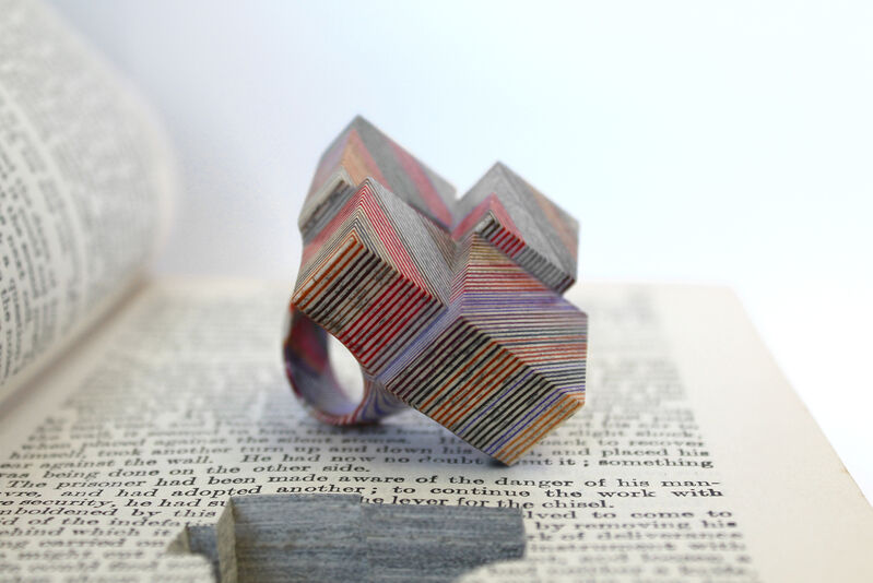 Jeremy May, 'The Count of Monte Cristo', 2021, Mixed Media, Ring made of the pages of the book The Count of Monte Cristo and nestled in the book, jaggedart