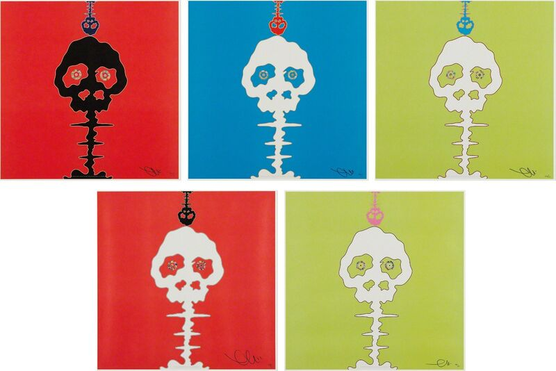 Takashi Murakami, 'LIME GREEN - TIME; RED - TIME; Time Bokan - green; Time Bokan - blue; and Time Bokan - red', 2001-08, Print, Five offset lithographs in colors, on smooth wove paper, the full sheets, Phillips