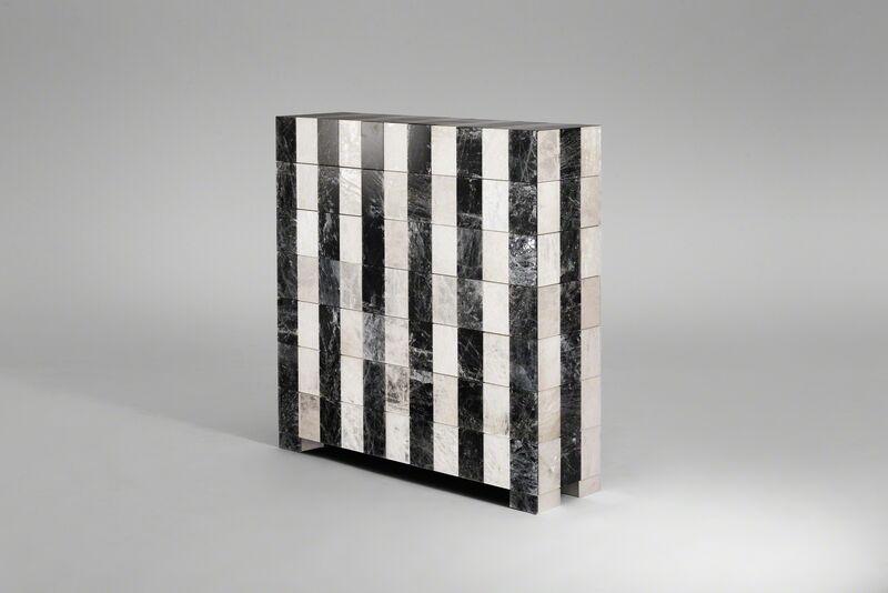 Mattia Bonetti, 'Cabinet, 'Stripe'', 2016, Design/Decorative Art, Gilded and hand painted rock crystal, wenge stained sapele veneer, brown bronze patina brass, David Gill Gallery