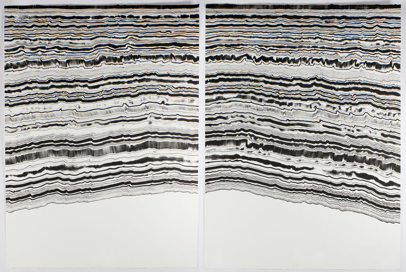 Rachel Perry, 'Chiral Lines (Tamarind Tools I)', 2016, Print, Single-color lithograph, diptych, Tamarind Institute