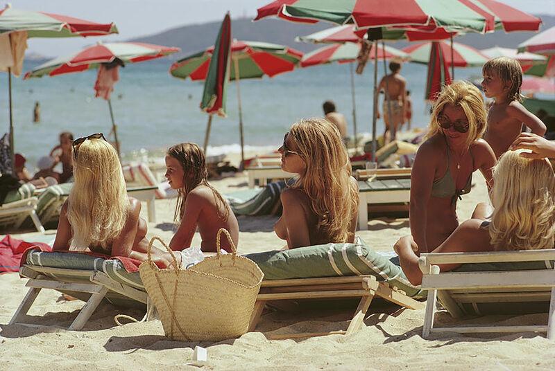 Slim Aarons, ' Saint-Tropez Beach, (Slim Aarons Estate Edition)', 1971, Photography, C-print, Provocateur Gallery