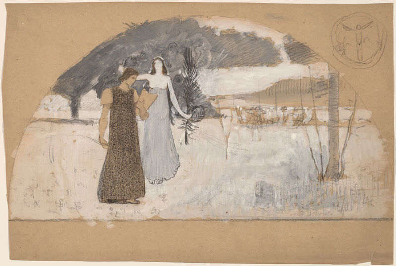 Charles Sprague Pearce, 'Studies for Lunettes', 1890/1897, Drawing, Collage or other Work on Paper, Gouache, black conté crayon, and graphite on tan wove paper, National Gallery of Art, Washington, D.C.