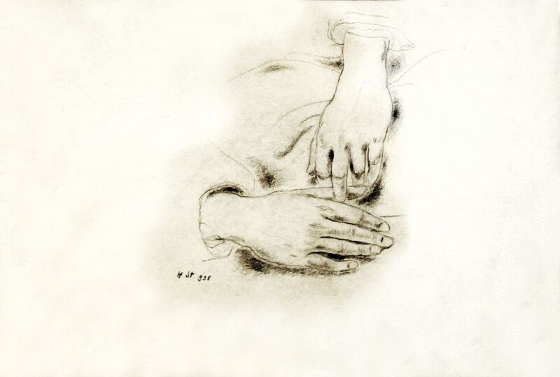 Hedda Sterne, 'Hands', 1938, Drawing, Collage or other Work on Paper, Crayon on paper, Postmodernism Museum