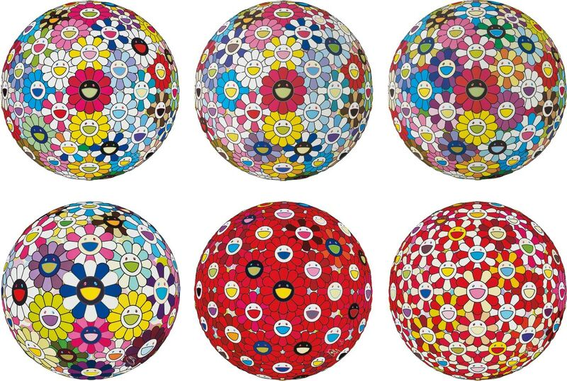 Takashi Murakami, 'Hold Me Tight!; Space Show; Flowerball Multicolor; Awakening; Flowerball: Bright Red; and Flowerball: Koi/Red-crowned Crane Vermilion', 2014-2017, Print, Six offset lithographs in colours, on smooth wove paper, the full sheets., Phillips