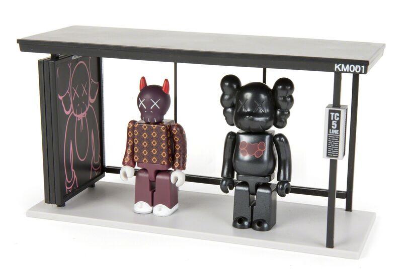KAWS, 'Kubrick', Sculpture, Painted cast vinyl figures with cast vinyl model bus stop (3), Julien's Auctions