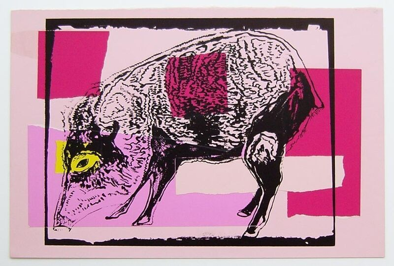 Andy Warhol, 'Vanishing Animals - Giant Chaco Peccary', 1986, Drawing, Collage or other Work on Paper, Unique colored paper, collage and silkscreen, Hamilton-Selway Fine Art