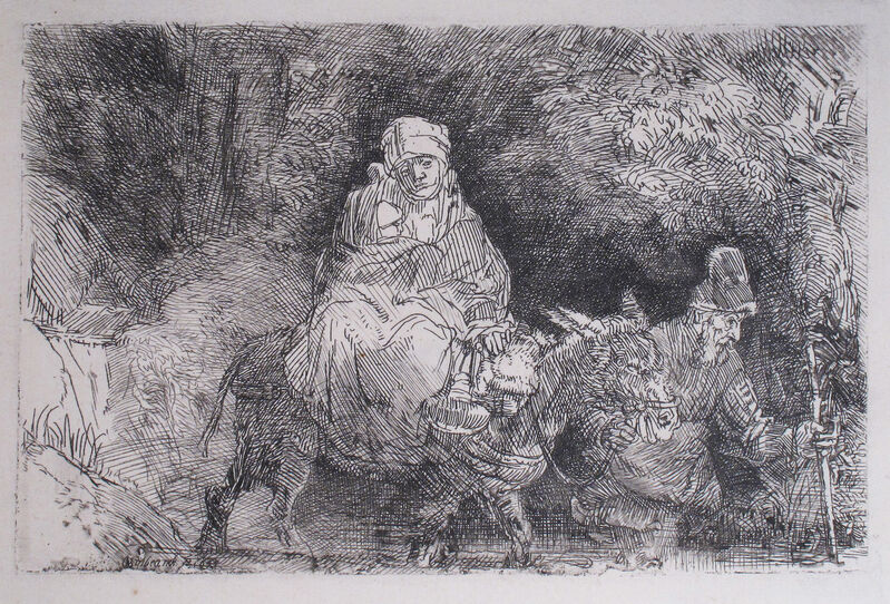 Rembrandt van Rijn, 'The Flight into Egypt, Crossing Over a Creek', 1654, Print, Etching and Drypoint, R. S. Johnson Fine Art
