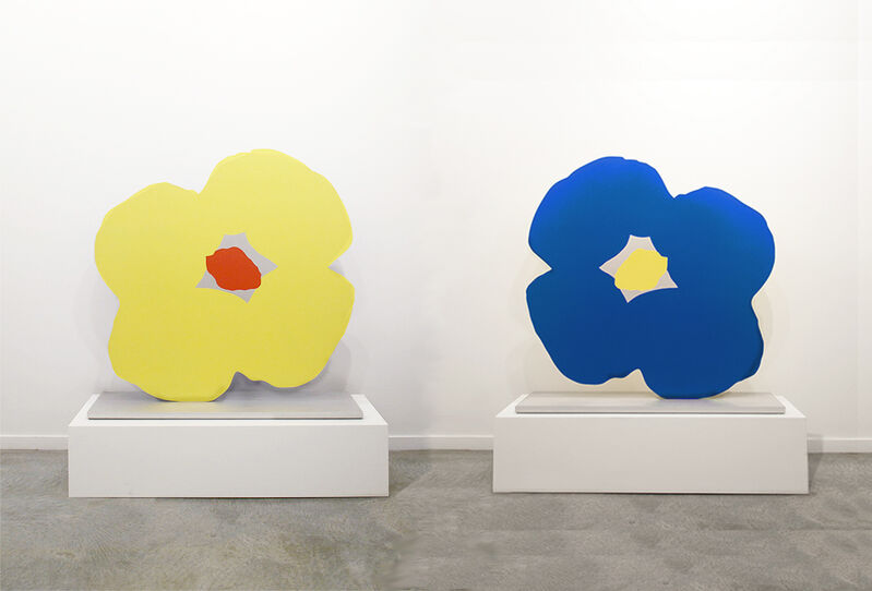 Donald Sultan, 'Blue Poppy Yellow Poppy Nov 4 2013', 2013, Sculpture, Aluminum and urethAluminum and urethane paint on alumane paint on aluminum base, RYAN LEE