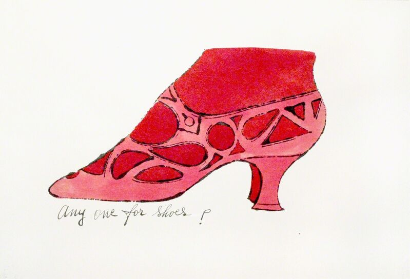 Andy Warhol, 'Any One For Shoes?', Drawing, Collage or other Work on Paper, Unique watercolor and offset lithograph on paper, Woodward Gallery
