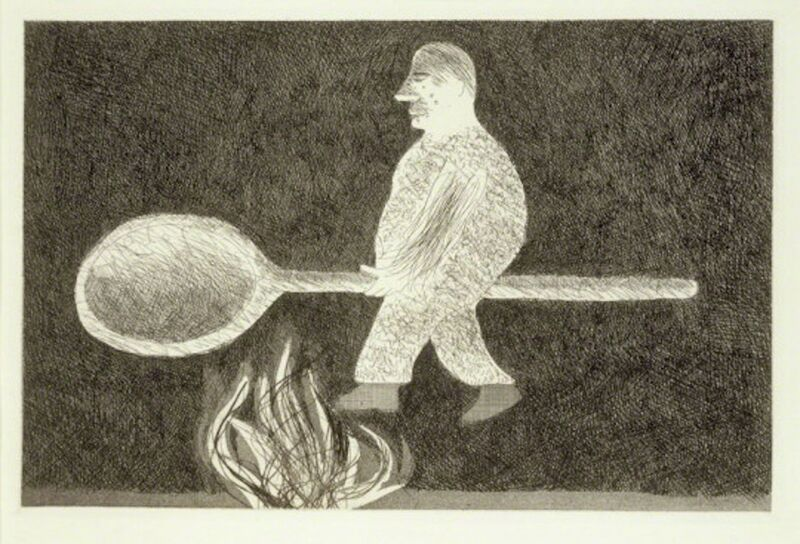 David Hockney, 'Riding around on a Cooking Spoon from Illustrations for Six Fairy Tales from the Brothers Grimm', 1969, Print, Etching with drypoint and aquatint on Hodgkinson handmade wove paper, Grob Gallery