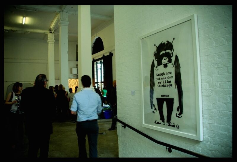 """Banksy, '""""Laugh Now.....""""', 2001, Painting, Aerosol spray on paper laid on board, MultiplesInc Projects"""