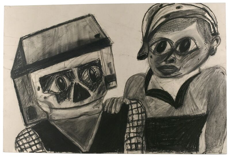 Eddie Martinez, 'Untitled', 2008, Drawing, Collage or other Work on Paper, Charcoal on paper, ZieherSmith
