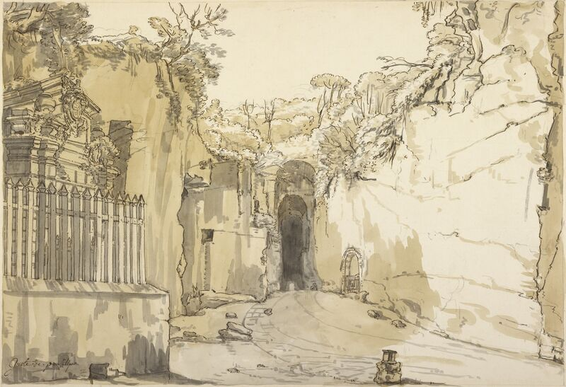 Claude-Joseph Vernet, 'The Entrance to the Grotto at Posilipo', 1750, Pen and brown ink, with brown and gray wash, over black chalk, J. Paul Getty Museum