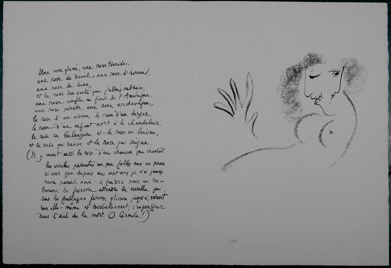 """Marc Chagall, 'Une rose glacée, 1967', 1967, Print, Original lithograph in colors on """"B.F.K. Rives """" paper., NCAG"""