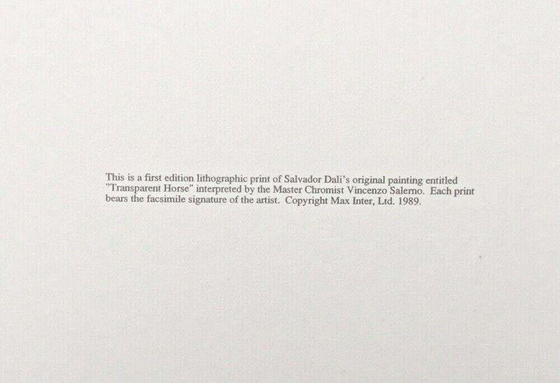 Salvador Dalí, 'Transparent Horse', 1989, Print, Lithograph on heavyweight wove paper, Art Commerce