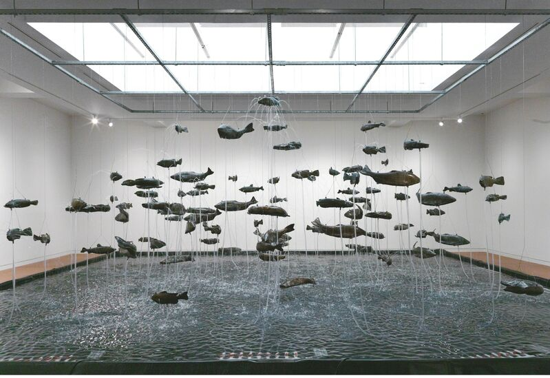 Bruce Nauman, 'One Hundred Fish Fountain', 2005, Installation, Ninety-seven bronze fish of seven different forms, suspended with stainless steel wire from a metal grid, Gagosian