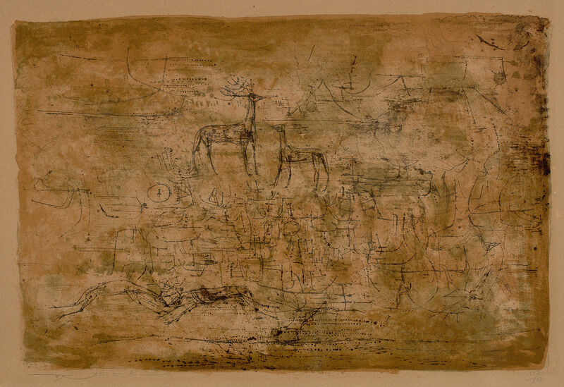 Zao Wou-Ki 趙無極, 'Les Cerfs (The Deer) (Å 76)', 1952, Print, Lithograph in colors, on Arches paper, with full margins., Phillips