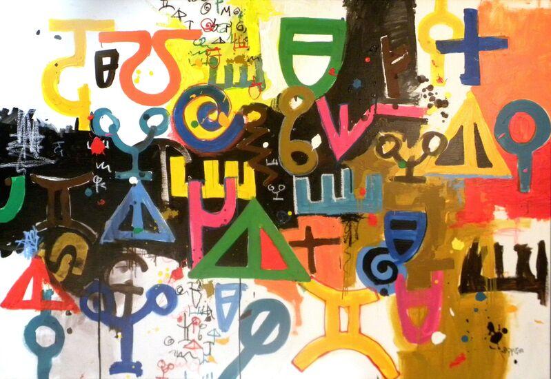 Marcel Pinas, 'Afakan De Ete', 2007, Painting, Acrylic, oil collage on canvas, SmithDavidson Gallery
