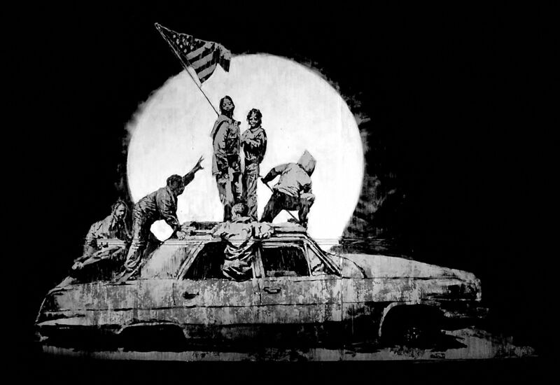 Banksy, 'Flag (Silver)', 2006, Print, Screenprint on silver cheomalux paper, Tate Ward Auctions