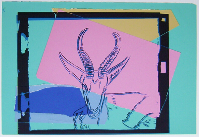 Andy Warhol, 'Vanishing Animals - Sommering Gazelle', 1986, Drawing, Collage or other Work on Paper, Unique colored paper, collage and silkscreen, Hamilton-Selway Fine Art