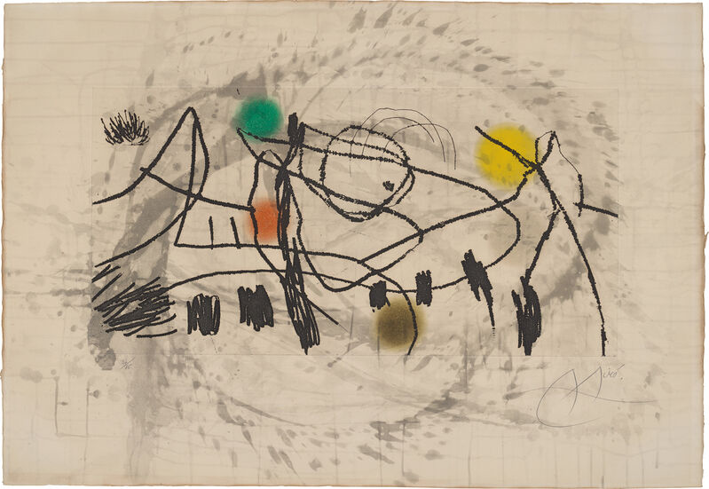 Joan Miró, 'Gravures pour une exposition (Engravings for an exhibition): plate 2', 1973, Print, Etching and aquatint in colours, on Arches paper, the full sheet., Phillips