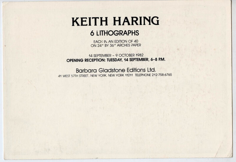 Keith Haring, 'Keith Haring at Barbara Gladstone 1982 (Keith Haring '6 Lithographs')', 1982, Ephemera or Merchandise, Gallery announcement card, Lot 180