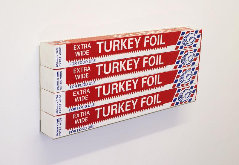 Gavin Turk, 'Turkey Foil Box x 4', 2007, Sculpture, Silkscreen on plywood, David Nolan Gallery