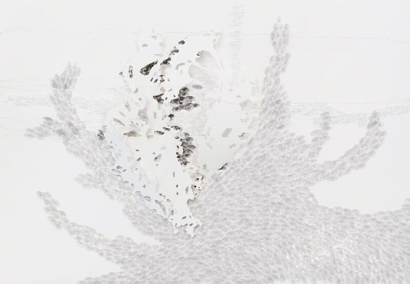 Safaa Erruas, 'Micro events II', 2017, Drawing, Collage or other Work on Paper, Paper cuts, metal threads, glass slides and thumbnail images of the eyes on cotton paper, L'Atelier 21