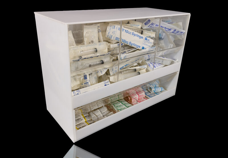 Damien Hirst, 'Love Will Tear Us Apart', 1995, Sculpture, Acrylic syringe dispenser cabinet, needles, syringes and packaging, Artsy x Rago/Wright