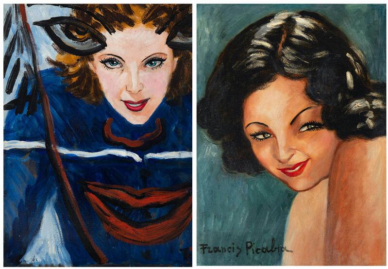 Francis Picabia, 'Tête de femme (au recto) Portrait de femme et visage superposé (au verso)', 1938-1939, Painting, Oil on cardboard, BAILLY GALLERY