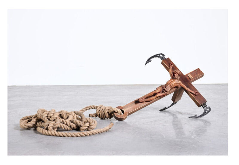 Banksy, 'Grappling Hook', 2017, Sculpture, Acrylic and shellac on wood, painted polyurethane, aluminium, steel and rope, ArtLife Gallery