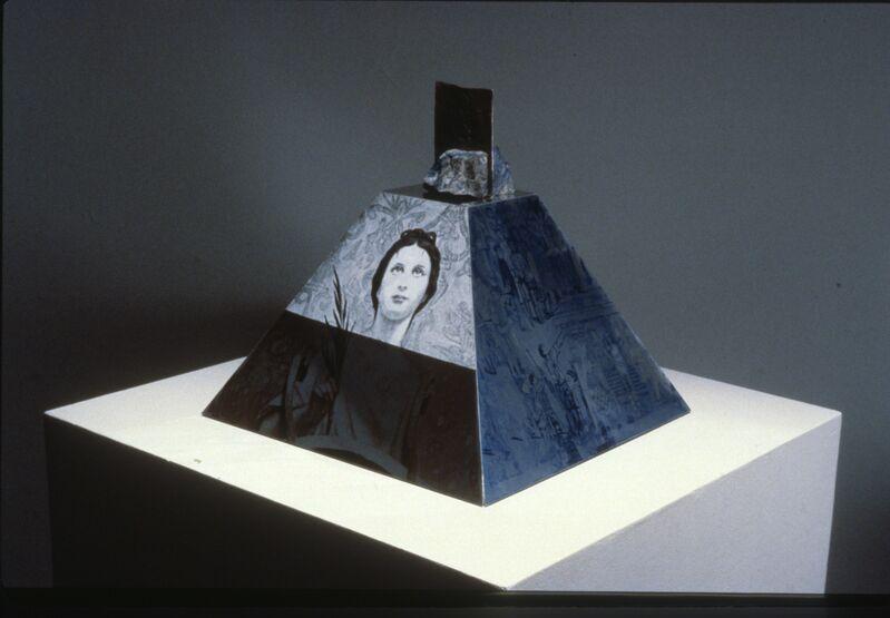 Robert Rauschenberg, 'Araucan Mastaba / ROCI CHILE', 1986, Sculpture, Hand painting and silkscreen ink on mirrored aluminum with cast sterling and lapis lazuli, Academy Art Museum