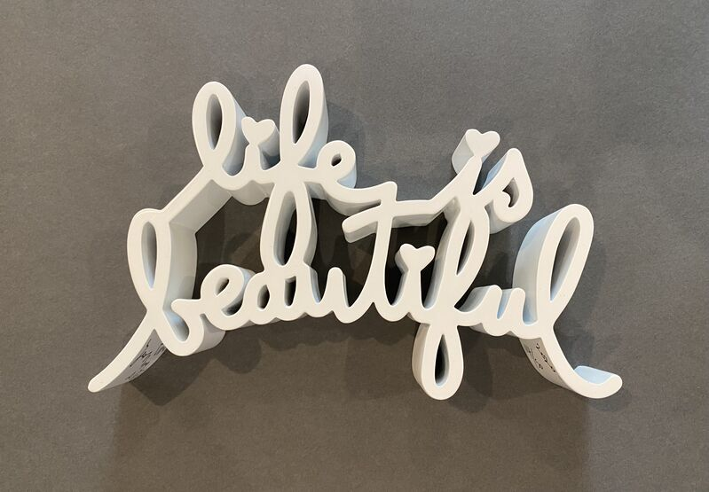 Mr. Brainwash, 'Life is Beautiful (White)', 2020, Sculpture, Thermal coated cast resin sculpture. Includes original box, Georgetown Frame Shoppe