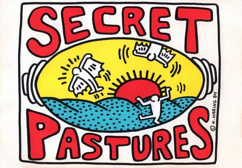 Keith Haring, 'Keith Haring Secret Pastures announcement (Keith Haring prints posters)', 1984, Posters, Offset lithograph, Lot 180