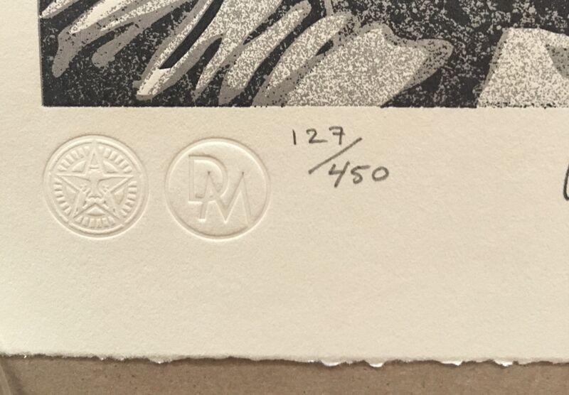 Shepard Fairey, 'Confrontation', 2021, Print, LETTERPRESS on Cream Cotton Rag FINE ART paper with Hand-Deckled Edges, AYNAC Gallery