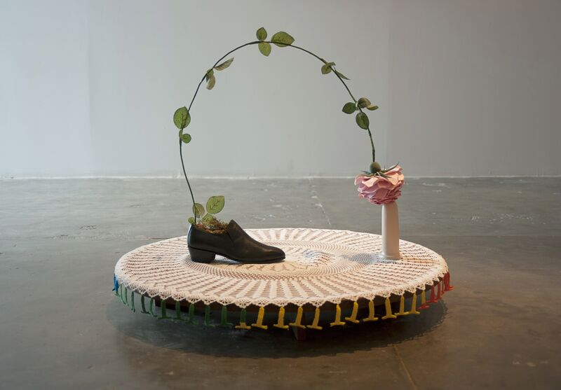 Nilbar Güres, 'Rose of Sapatão', 2014, Other, Wire, ribbons, modelling clay, single men's shoe size 41, ceramics, lacework, Galerie Martin Janda